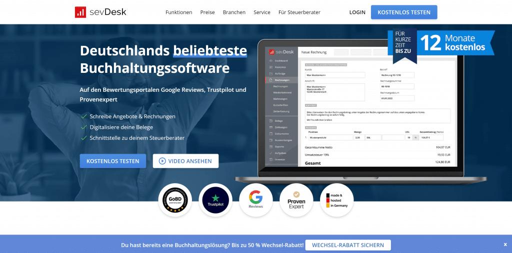 sevDesk Buchhaltungssoftware